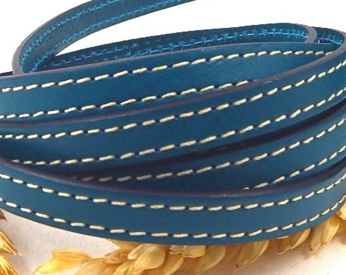 ultramarine blue flat leather with stitching 1 meter high quality 10mm