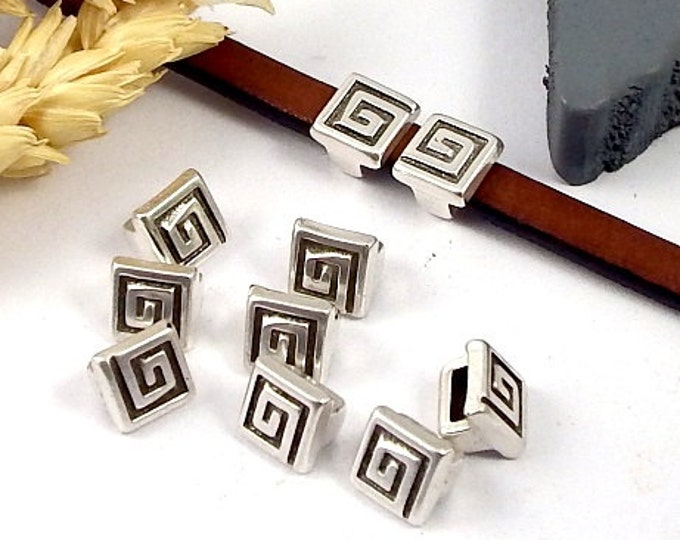 10 past square spiral plated silver leather 5mm flat leather