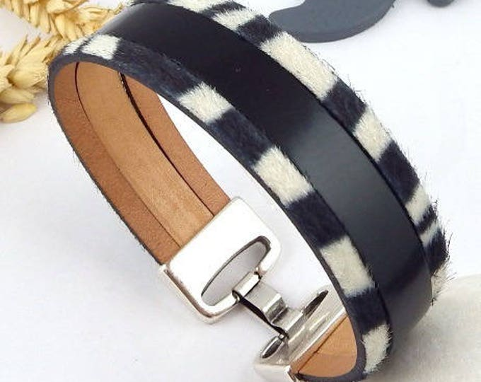 Zebra leather bracelet clasp black glaze and high quality