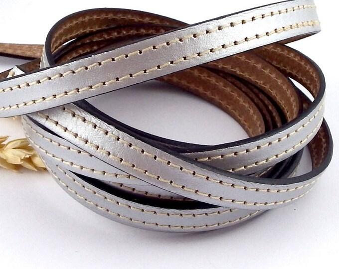 Leather flat blue silver seams high quality 10mm per 1 metre (1.09 yard,3.28 foot)