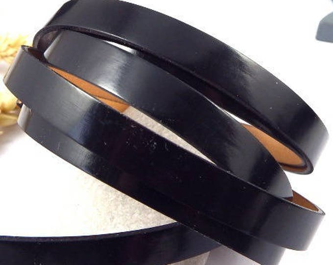 1 metre cordon cuir plat 10mm miroir vernis noir CPUSV10NO100
