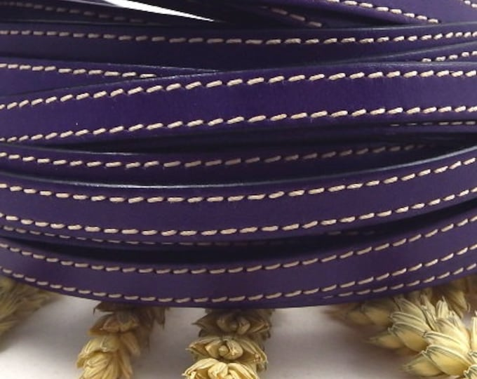 Purple flat leather with high quality seams 10mm 1 metre