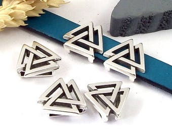 slider for flat leather 10mm silver plated geometric triangle 5 loops
