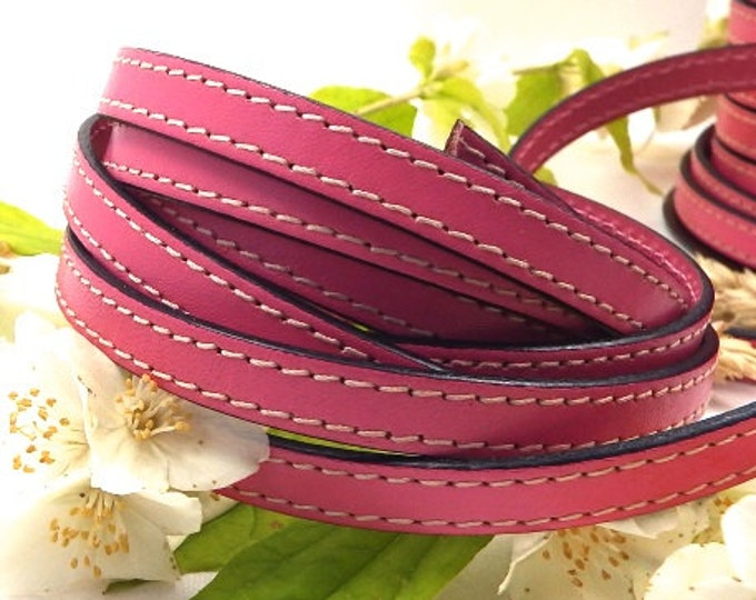 Leather pink seams high quality 10mm per 1 metre (1.09 yard,3.28 foot)