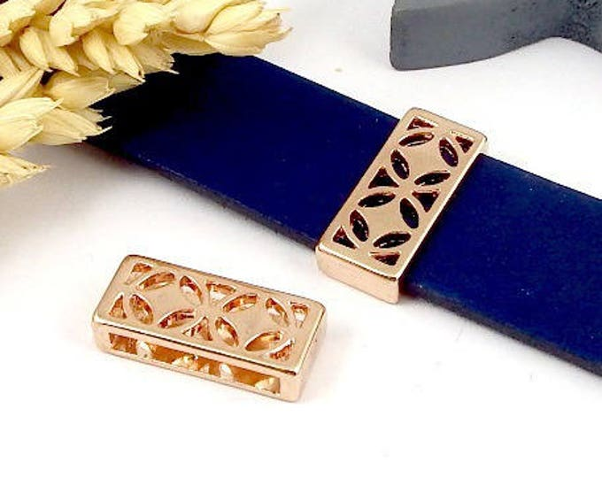 geometric rectangle and round leather 5 past flashed rose gold 20mm flat leather