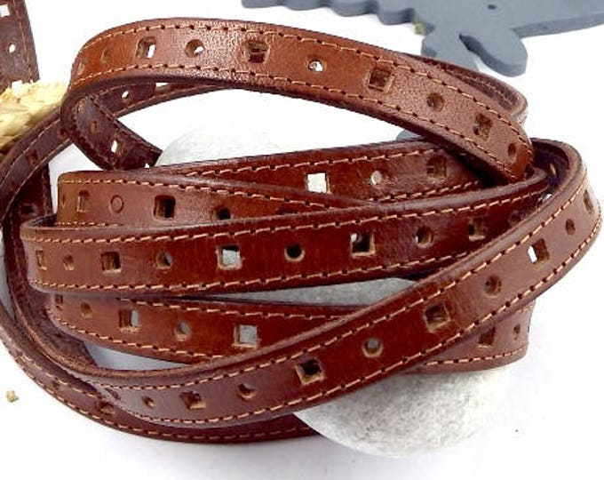 leather flat camel 10mm perfore seams by 1 metre (1.09 yard)