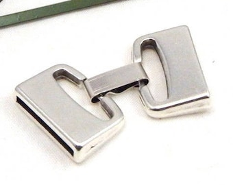 5 clasps for leather int 20mm silver plated clip