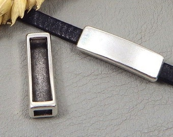 5 pass-leather rectangle original smooth plated Silver 5mm leather