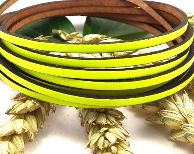 1 meter of 3mm neon yellow flat leather high quality cpfl3fu