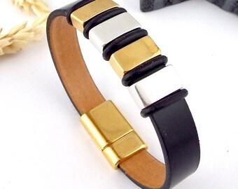 men leather bracelet black design flashed magnetic clasp gold