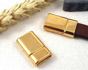 1 extra magnetic clasp flat flashed leather flat 10mm gold