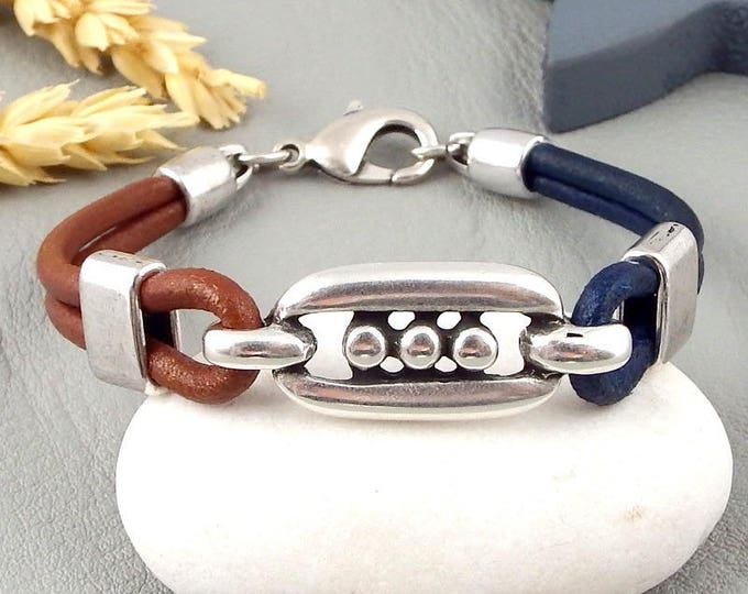 Kit tutorial and blue patterns men leather bracelet silver