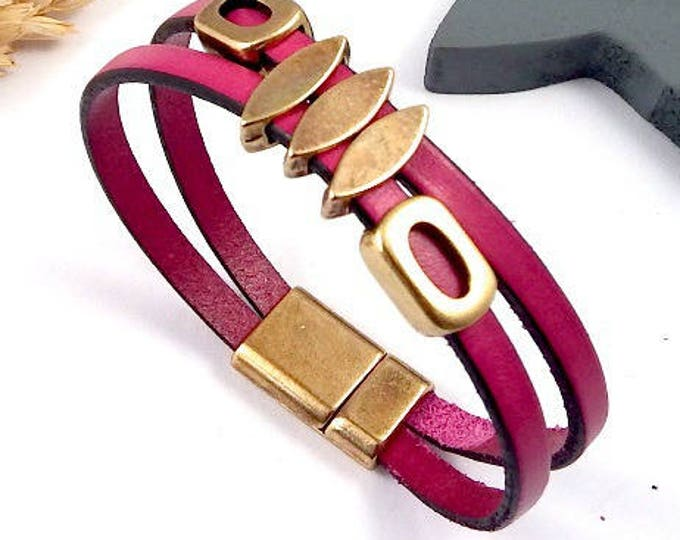 Geometric fuchsia leather bracelet Kit and bronze beads, zamak clasp