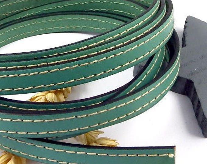 10mm green ocean green flat leather white seams by 20cm