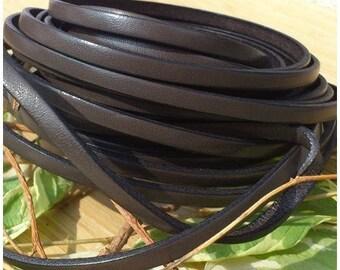 Grey flat leather grey 5mm by 1 metre (1.09 yard 3.28 feet)