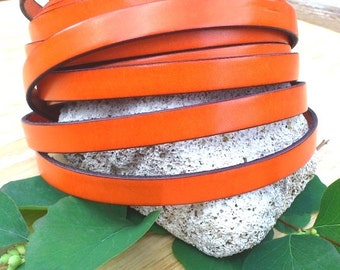 Orange flat leather 10mm by 1 meter high quality
