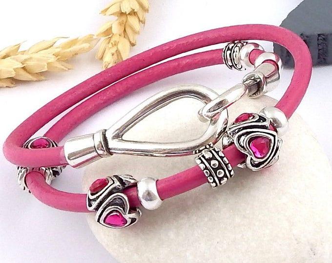 2 fuchsia leather bracelet turns ethnic beads fuchsia and hook clasp original silver plated