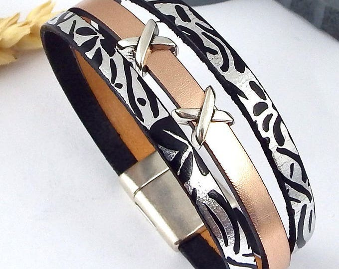 leather bracelet tutorial Kit rose gold and silver metal clasp silver