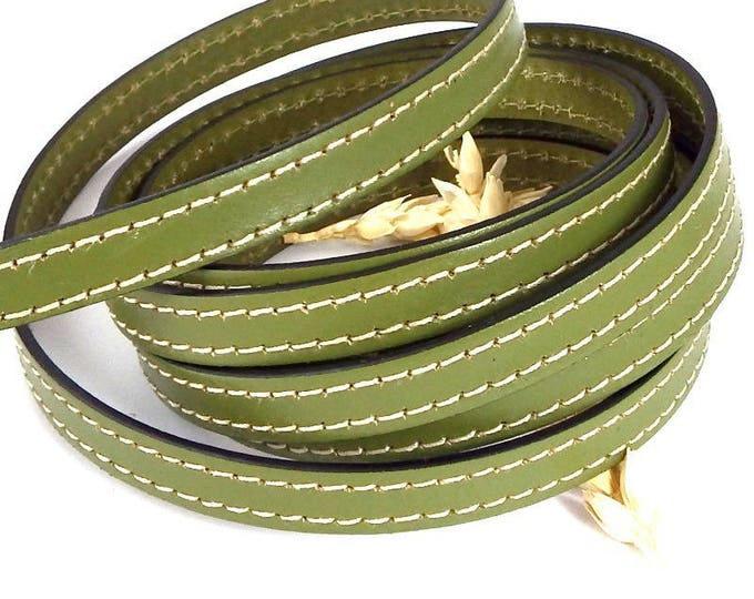 flat leather 10mm pistachio green white stitching by 50cm