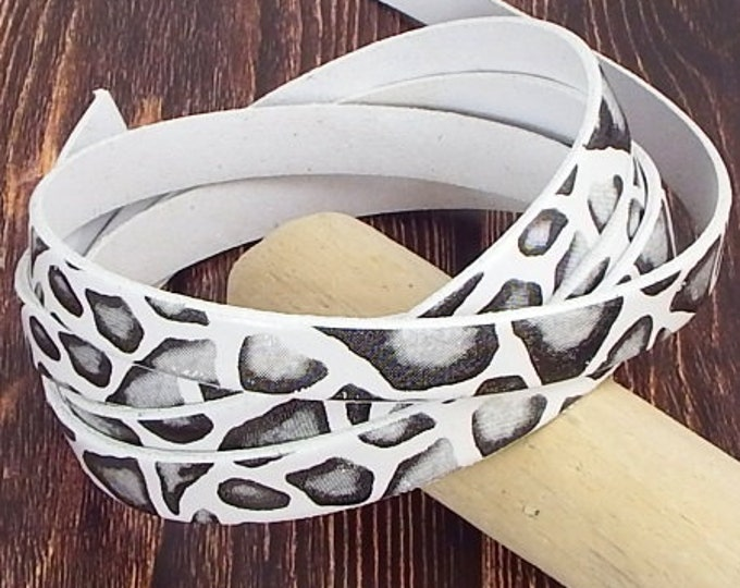10mm flat leather cord prints wild white and black