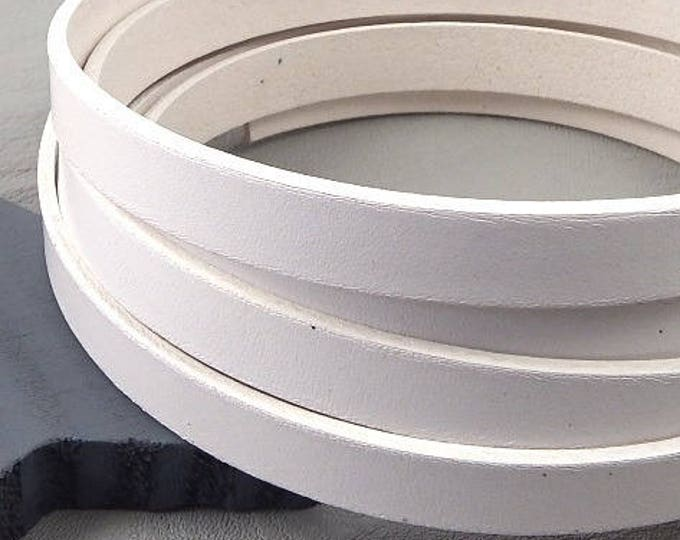 1 meter of flat leather 10mm white high quality cpucp10bl