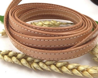 Leather flat natural 10mm with double-stitched 1 metre (1.09 yard 3.28 feet)