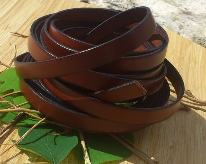 flat brown leather (0,4 inches by 1.09 yard)