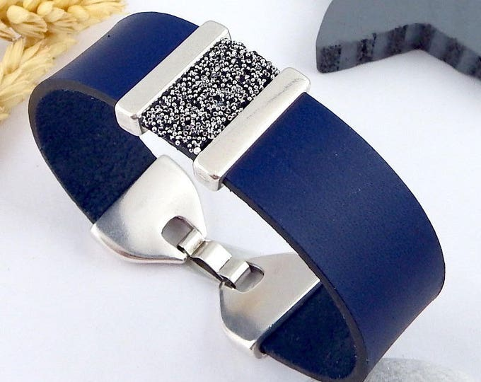 Dark blue leather clasp silver plated swarovski crystal bracelet tutorial Kit