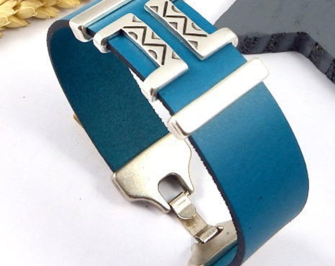 Boho and silver plated geometric turquoise leather bracelet tutorial Kit