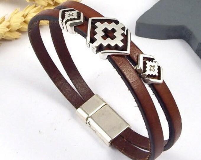 Leather Bracelet tutorial Kit Brown geometric boho silver plated