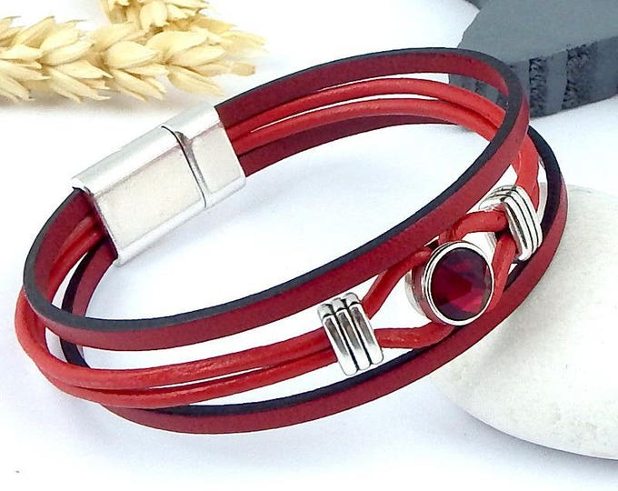 Kit tutorial bracelet leather Red Crystal swarovski beads with silver plated clasp