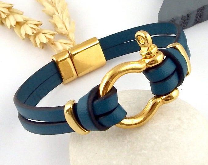 Ultramarine Manila and flashed clasp leather bracelet gold