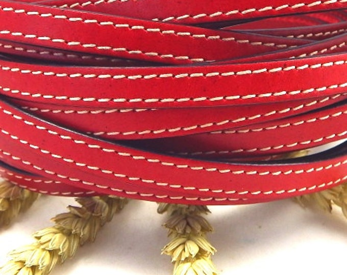 Red flat leather with high quality seams 10mm per 1 metre