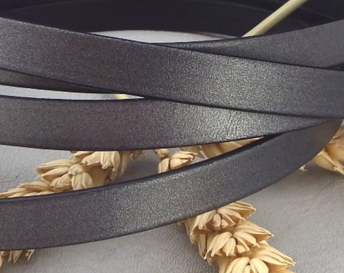 High quality matte dark silver flat leather 10mm per 1 metre