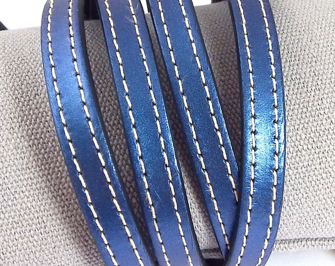 Lace flat leather 10mm blue metal white seams by 50cm