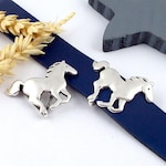 Interleave for 20mm flat leather silver plated galloping horse