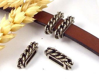 Interleave chain fine silver plated antiqued leather 10mm