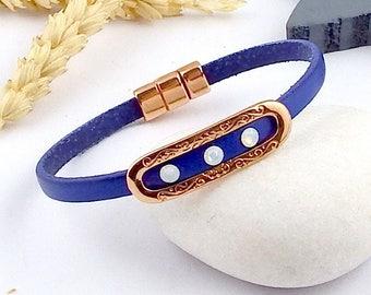 Pink Crystal swarovski white opal and gold Gypsy blue leather bracelet