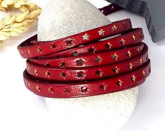 1 meter 6mm flat leather perforated stars flame red high quality