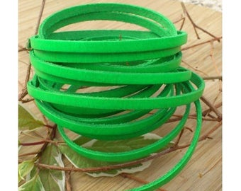 1 meter neon green 5mm flat leather high quality