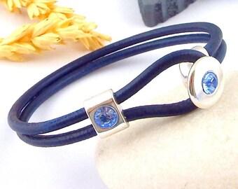 Navy blue leather silver and Sapphire swarovski crystal Bead Bracelet