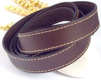 Brown stitching 20mm flat leather high quality by 19cm