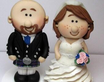 Scottish Bride And Groom  Wedding Cake Topper, Personalised Wedding Topper, Custom Made Cake Decoration, Gift
