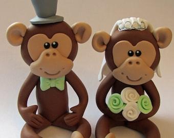Bride And Groom Monkey Wedding Cake Topper,