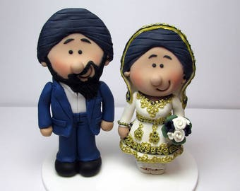 Asian themed Wedding cake topper, Personalised bride and groom Cake topper, custom wedding,