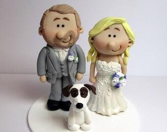 Wedding Cake Topper,  Bride And Groom with pet dog, Custom made to order, wedding cake figurines, cake decoration