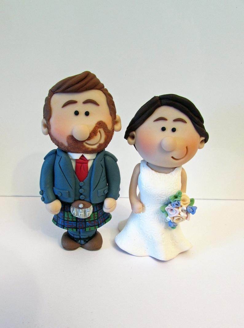 MINI personalised Scottish bride and groom wedding Cake topper