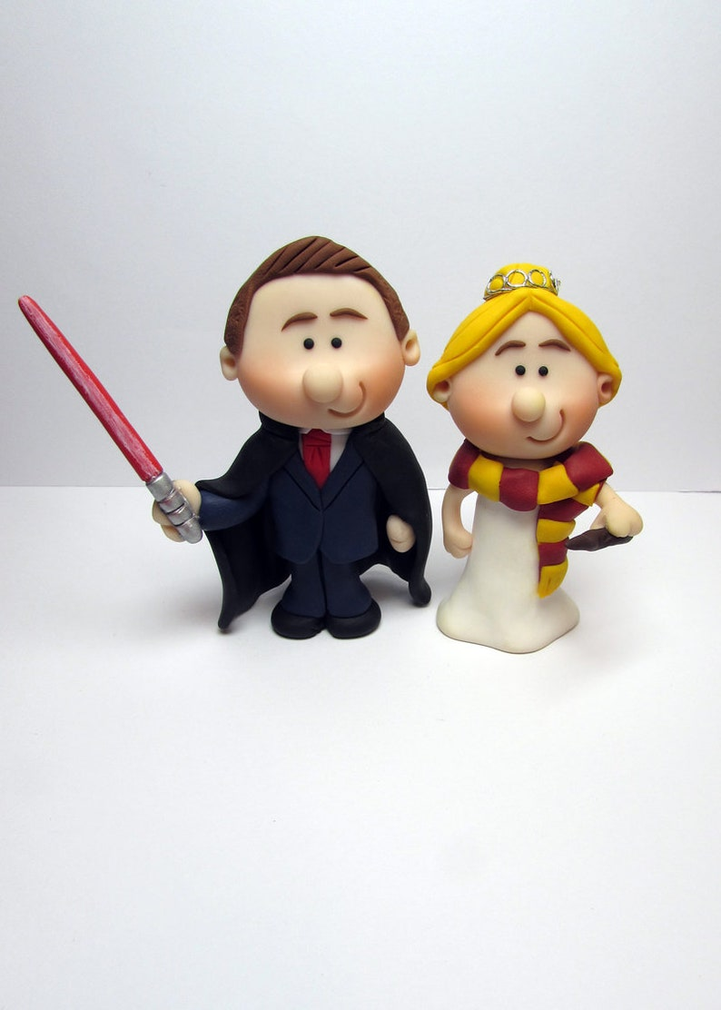 Bride and Groom Wedding Cake Topper Star wars and Harry Potter Handmade Mini Novelty Cake Topper Personalised hair and tie colours