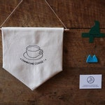 Embroidered Twin Peaks pennant : Damn fine coffee, Agent Cooper - Wall banner, wall decor, wall hanging, home sweet home, Cooper &Co