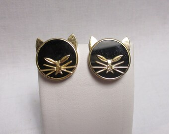 Retro Tuxedo Cat and Onyx Gemstones Earrings Cat Earrings